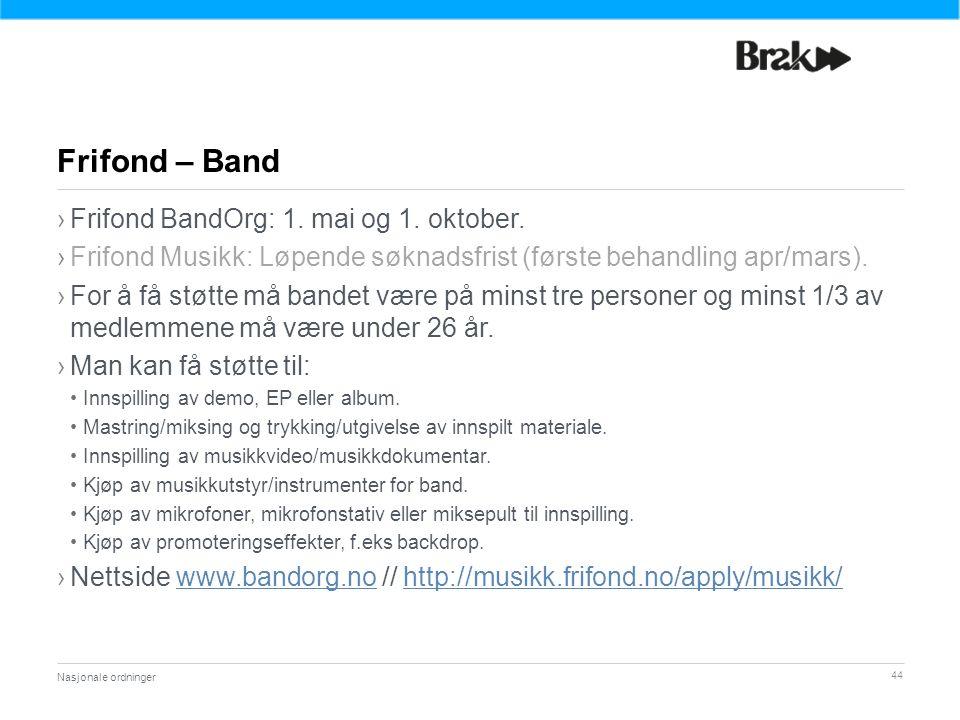 44 ›Frifond BandOrg: 1.mai og 1. oktober.