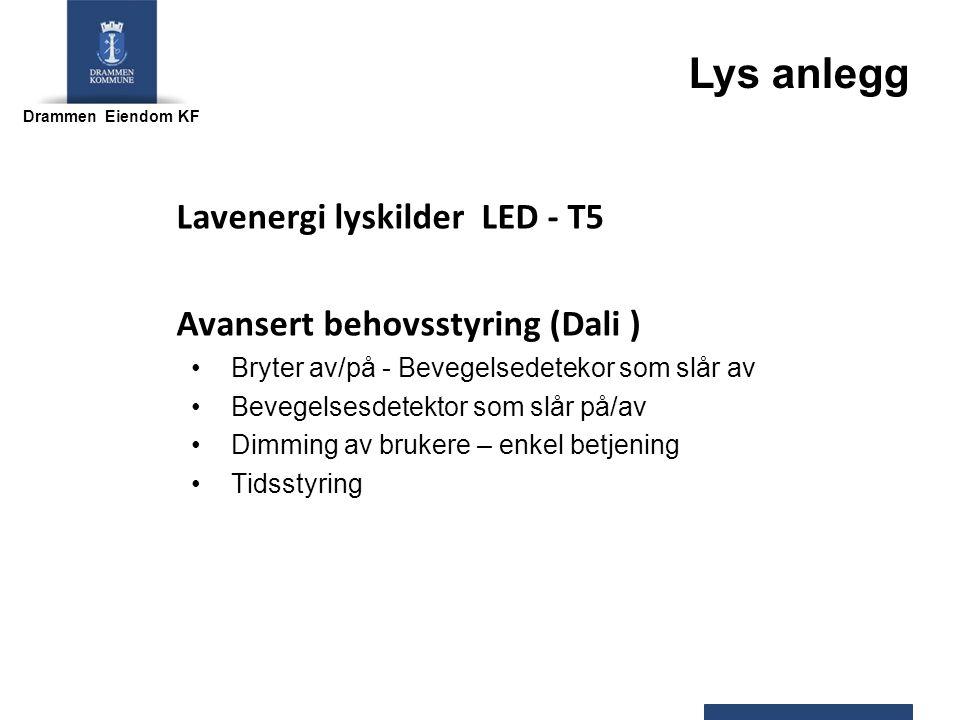 Drammen Eiendom KF Lavenergi lyskilder LED - T5 Avansert behovsstyring (Dali ) Bryter av/på - Bevegelsedetekor som slår av Bevegelsesdetektor som slår på/av Dimming av brukere – enkel betjening Tidsstyring Lys anlegg