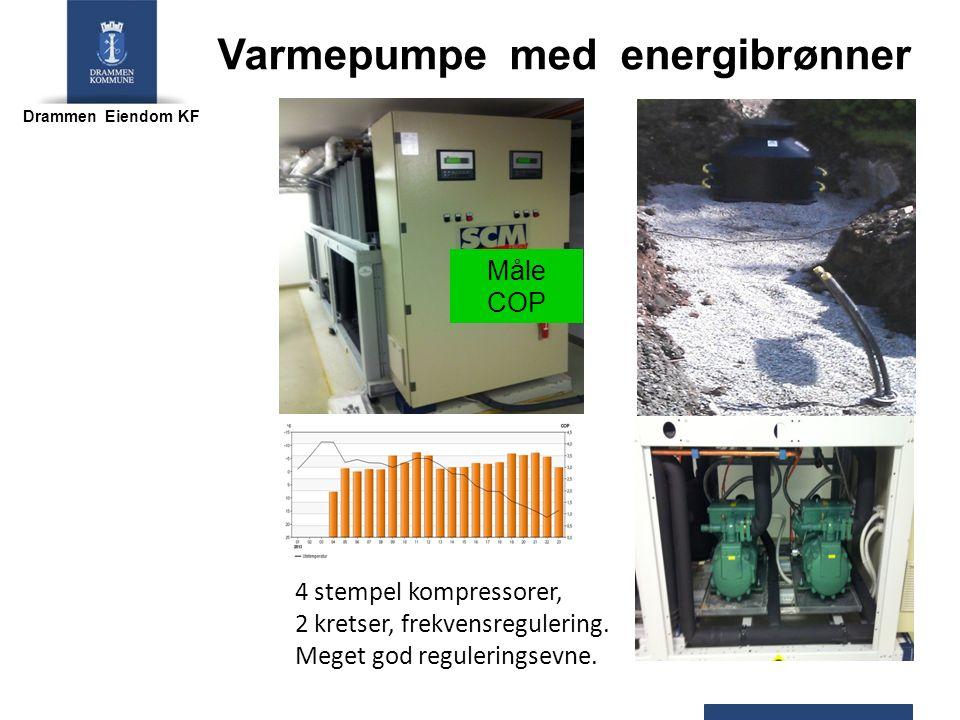 Drammen Eiendom KF 4 stempel kompressorer, 2 kretser, frekvensregulering. Meget god reguleringsevne. Varmepumpe med energibrønner Måle COP