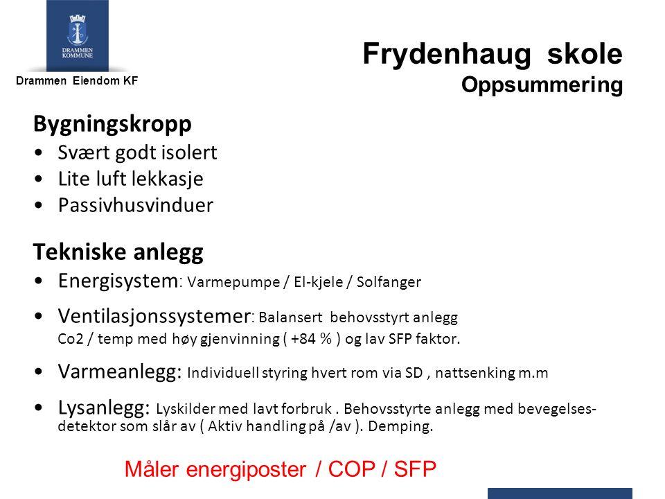 Drammen Eiendom KF Bygningskropp Svært godt isolert Lite luft lekkasje Passivhusvinduer Tekniske anlegg Energisystem : Varmepumpe / El-kjele / Solfanger Ventilasjonssystemer : Balansert behovsstyrt anlegg Co2 / temp med høy gjenvinning ( +84 % ) og lav SFP faktor.