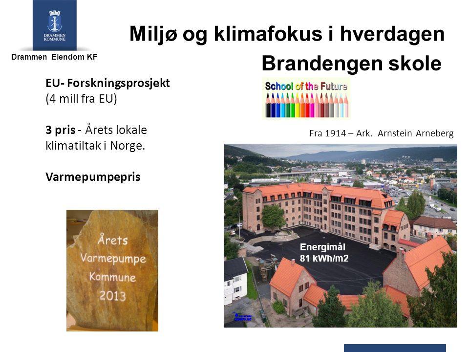 Drammen Eiendom KF Brandengen skole Miljø og klimafokus i hverdagen Fra 1914 – Ark. Arnstein Arneberg Energimål 81 kWh/m2 EU- Forskningsprosjekt (4 mi