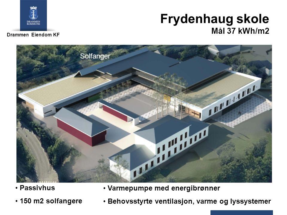 Drammen Eiendom KF Frydenhaug skole Mål 37 kWh/m2 Passivhus 150 m2 solfangere Solfanger Varmepumpe med energibrønner Behovsstyrte ventilasjon, varme og lyssystemer