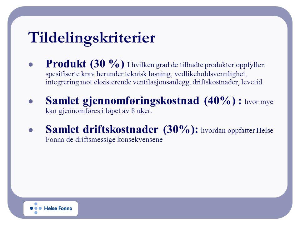 Tildelingskriterier Produkt (30 %) I hvilken grad de tilbudte produkter oppfyller: spesifiserte krav herunder teknisk løsning, vedlikeholdsvennlighet,