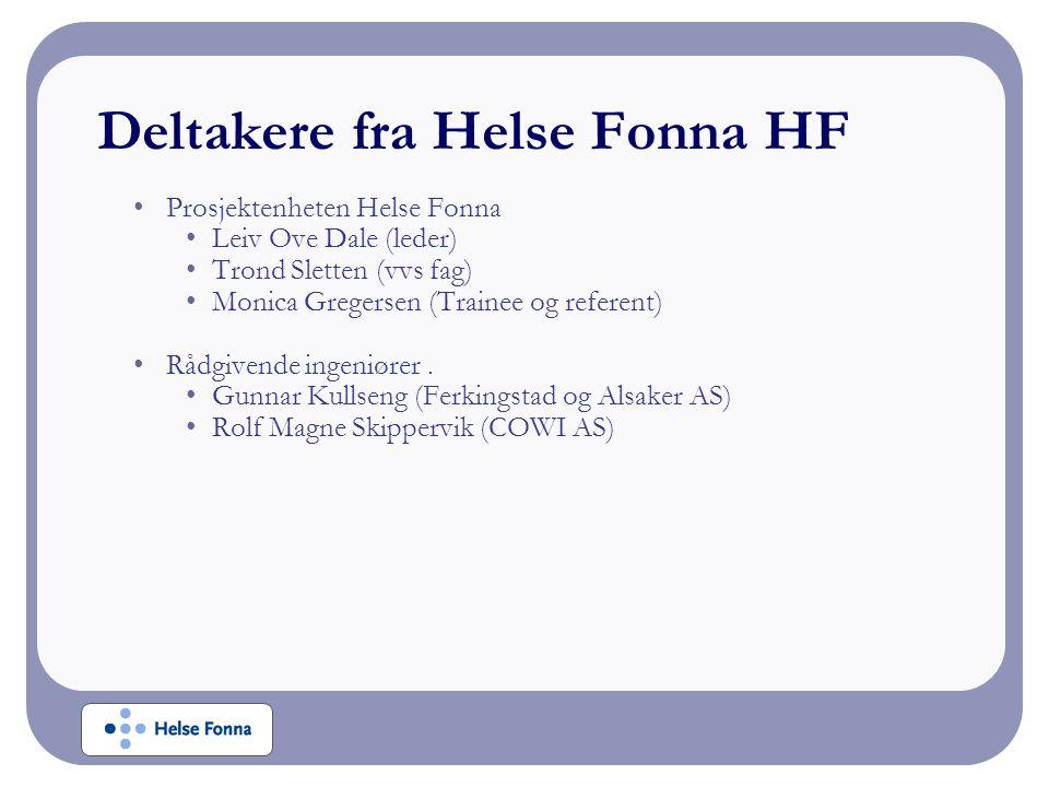 Deltakere fra Helse Fonna HF Prosjektenheten Helse Fonna Leiv Ove Dale (leder) Trond Sletten (vvs fag) Monica Gregersen (Trainee og referent) Rådgiven