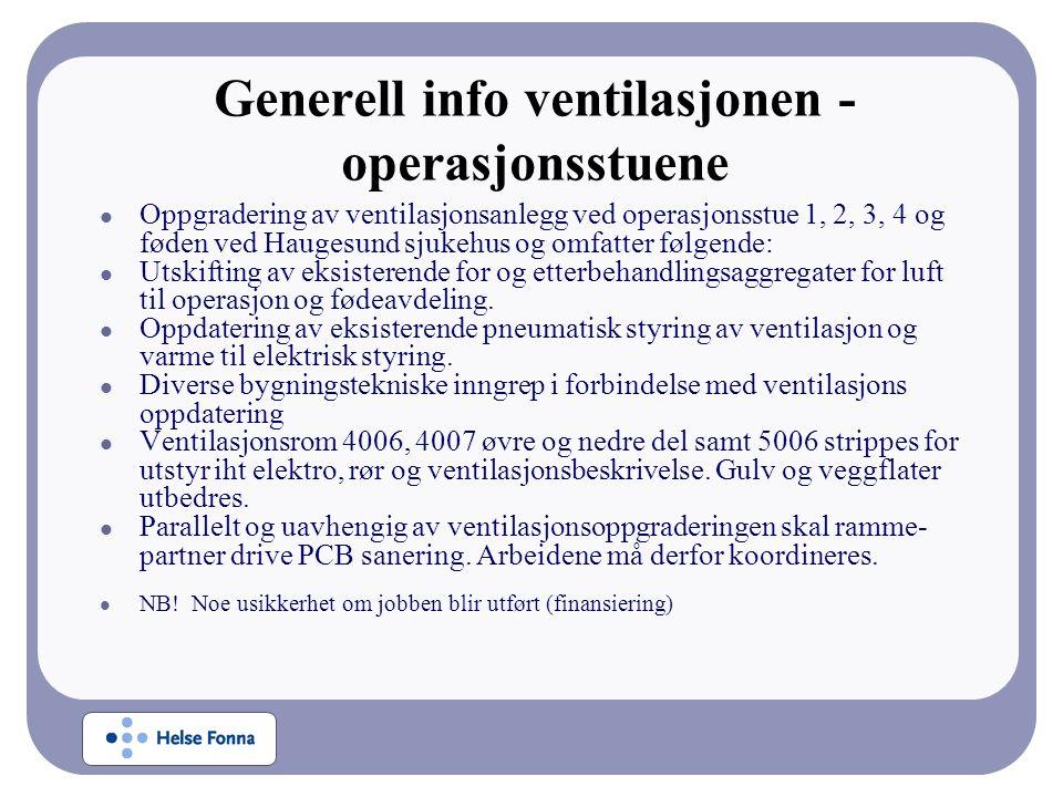 Generell info ventilasjonen - operasjonsstuene Oppgradering av ventilasjonsanlegg ved operasjonsstue 1, 2, 3, 4 og føden ved Haugesund sjukehus og omf