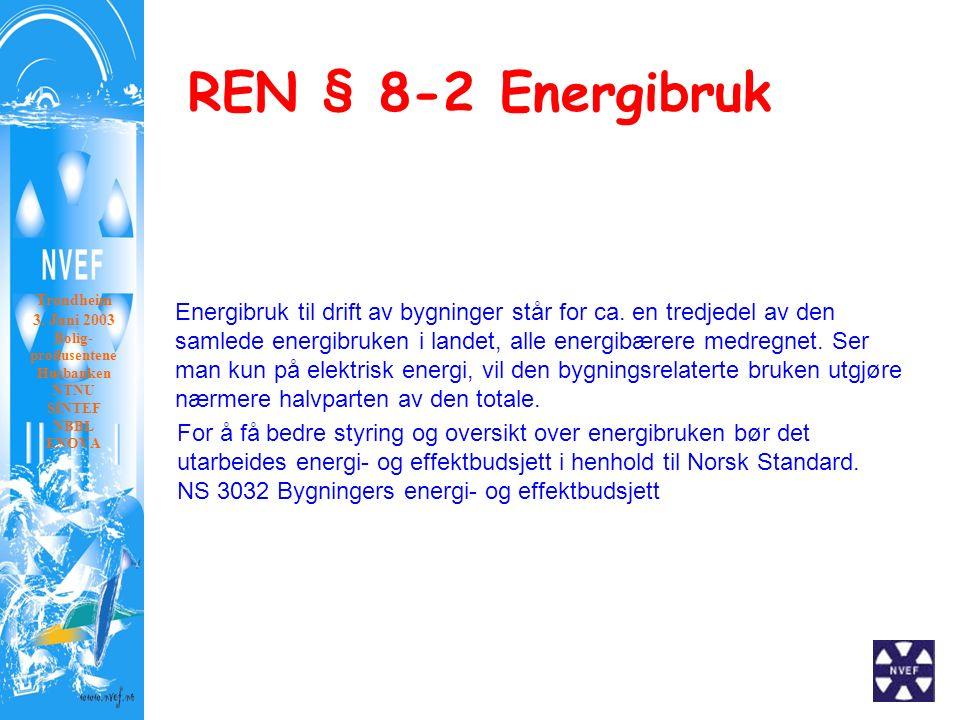 REN § 8-2 Energibruk Trondheim 3. Juni 2003 Bolig- produsentene Husbanken NTNU SINTEF NBBL ENOVA Energibruk til drift av bygninger står for ca. en tre