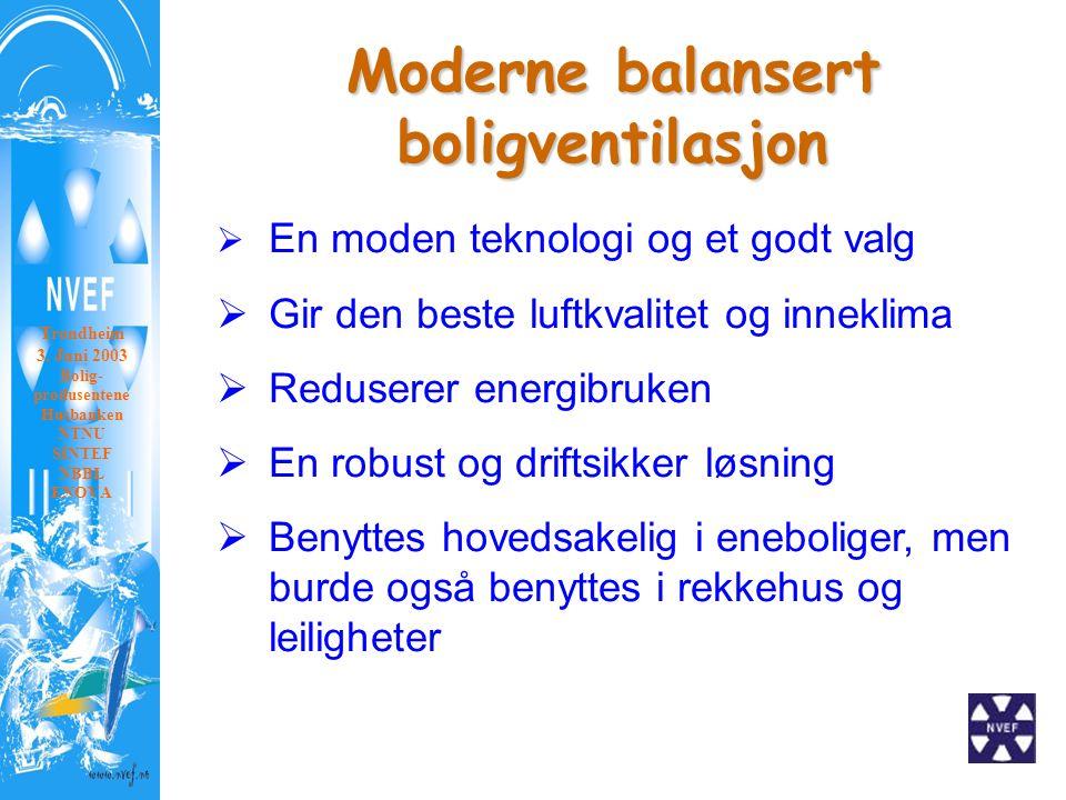 Moderne balansert boligventilasjon VVS – Foreningen Landsmøte 2003  En moden teknologi og et godt valg  Gir den beste luftkvalitet og inneklima  Reduserer energibruken  En robust og driftsikker løsning  Benyttes hovedsakelig i eneboliger, men burde også benyttes i rekkehus og leiligheter Trondheim 3.