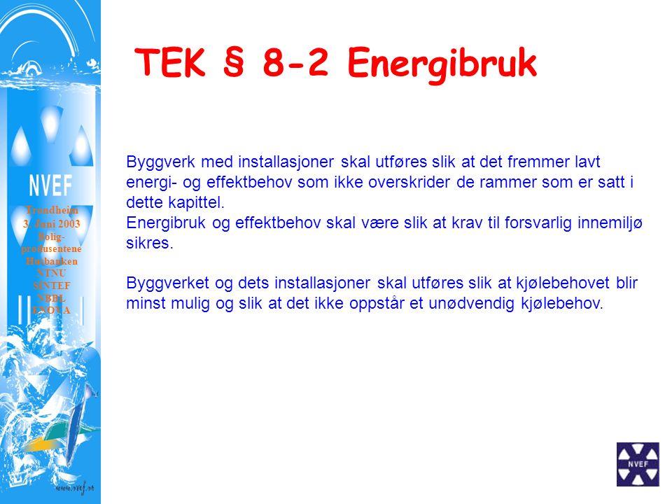 TEK § 8-2 Energibruk Trondheim 3. Juni 2003 Bolig- produsentene Husbanken NTNU SINTEF NBBL ENOVA Byggverk med installasjoner skal utføres slik at det
