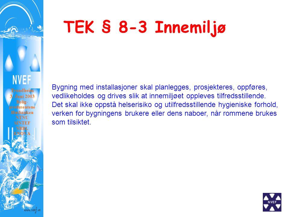 TEK § 8-3 Innemiljø Trondheim 3. Juni 2003 Bolig- produsentene Husbanken NTNU SINTEF NBBL ENOVA Bygning med installasjoner skal planlegges, prosjekter