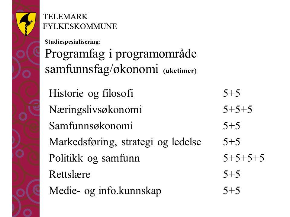 TELEMARK FYLKESKOMMUNE TELEMARK FYLKESKOMMUNE Studiespesialisering: Programfag i programområde samfunnsfag/økonomi (uketimer) Historie og filosofi5+5 Næringslivsøkonomi5+5+5 Samfunnsøkonomi5+5 Markedsføring, strategi og ledelse5+5 Politikk og samfunn 5+5+5+5 Rettslære5+5 Medie- og info.kunnskap 5+5