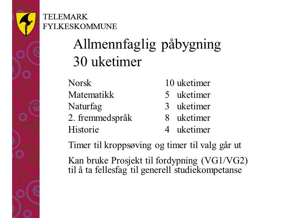TELEMARK FYLKESKOMMUNE TELEMARK FYLKESKOMMUNE Allmennfaglig påbygning 30 uketimer Norsk 10 uketimer Matematikk5 uketimer Naturfag3 uketimer 2. fremmed