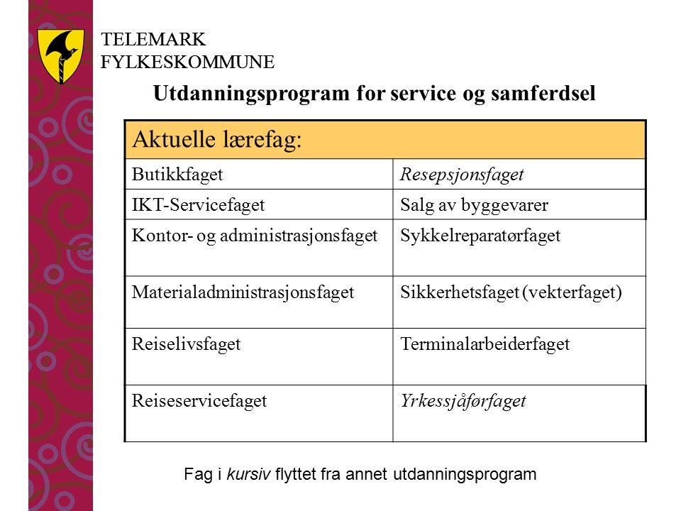 TELEMARK FYLKESKOMMUNE TELEMARK FYLKESKOMMUNE Utdanningsprogram for service og samferdsel Aktuelle lærefag: ButikkfagetResepsjonsfaget IKT-Servicefage
