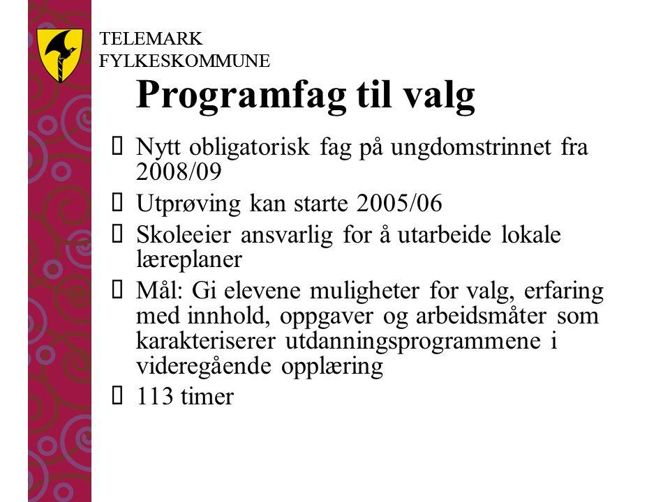TELEMARK FYLKESKOMMUNE TELEMARK FYLKESKOMMUNE Programfag til valg  Nytt obligatorisk fag på ungdomstrinnet fra 2008/09  Utprøving kan starte 2005/06