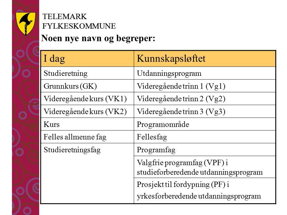 TELEMARK FYLKESKOMMUNE TELEMARK FYLKESKOMMUNE I dagKunnskapsløftet StudieretningUtdanningsprogram Grunnkurs (GK)Videregående trinn 1 (Vg1) Videregående kurs (VK1)Videregående trinn 2 (Vg2) Videregående kurs (VK2)Videregående trinn 3 (Vg3) KursProgramområde Felles allmenne fagFellesfag StudieretningsfagProgramfag Valgfrie programfag (VPF) i studieforberedende utdanningsprogram Prosjekt til fordypning (PF) i yrkesforberedende utdanningsprogram Noen nye navn og begreper: