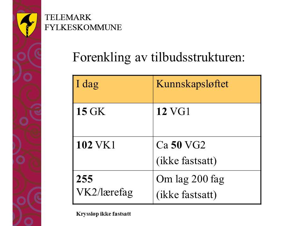 TELEMARK FYLKESKOMMUNE TELEMARK FYLKESKOMMUNE Forenkling av tilbudsstrukturen: I dagKunnskapsløftet 15 GK12 VG1 102 VK1Ca 50 VG2 (ikke fastsatt) 255 VK2/lærefag Om lag 200 fag (ikke fastsatt) Kryssløp ikke fastsatt