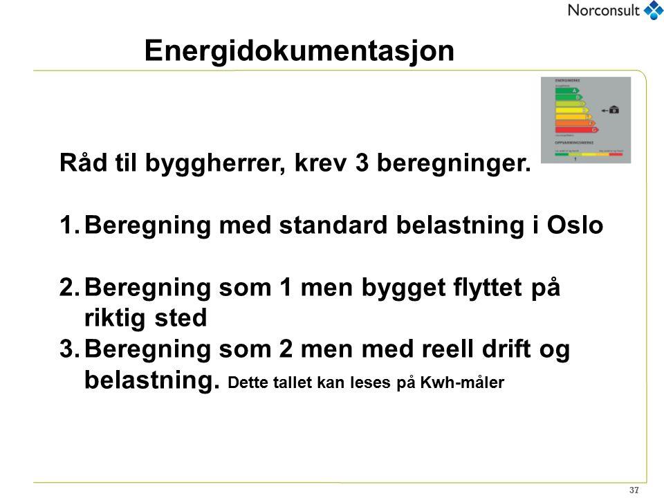 37 Energidokumentasjon Råd til byggherrer, krev 3 beregninger. 1.Beregning med standard belastning i Oslo 2.Beregning som 1 men bygget flyttet på rikt