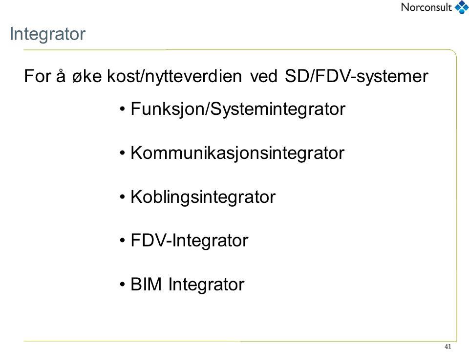 41 Integrator For å øke kost/nytteverdien ved SD/FDV-systemer Funksjon/Systemintegrator Kommunikasjonsintegrator Koblingsintegrator FDV-Integrator BIM Integrator