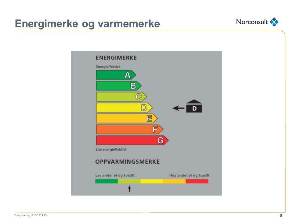 Energimerke og varmemerke Energimerking, FUBE 16.2.2011 6