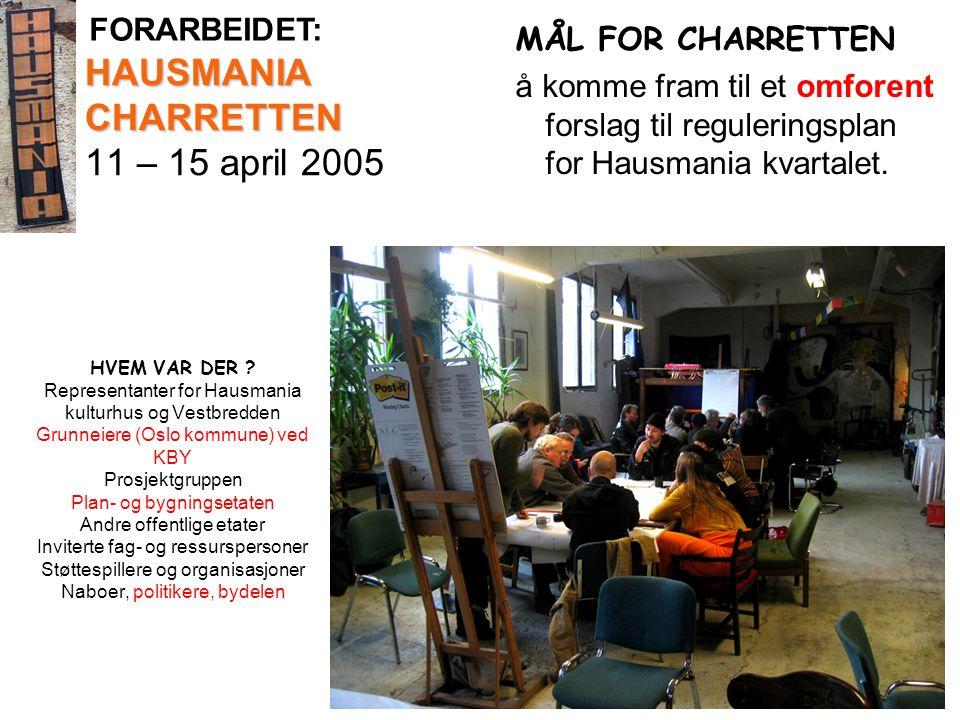 HAUSMANIA CHARRETTEN HAUSMANIA CHARRETTEN 11 – 15 april 2005 MÅL FOR CHARRETTEN å komme fram til et omforent forslag til reguleringsplan for Hausmania kvartalet.