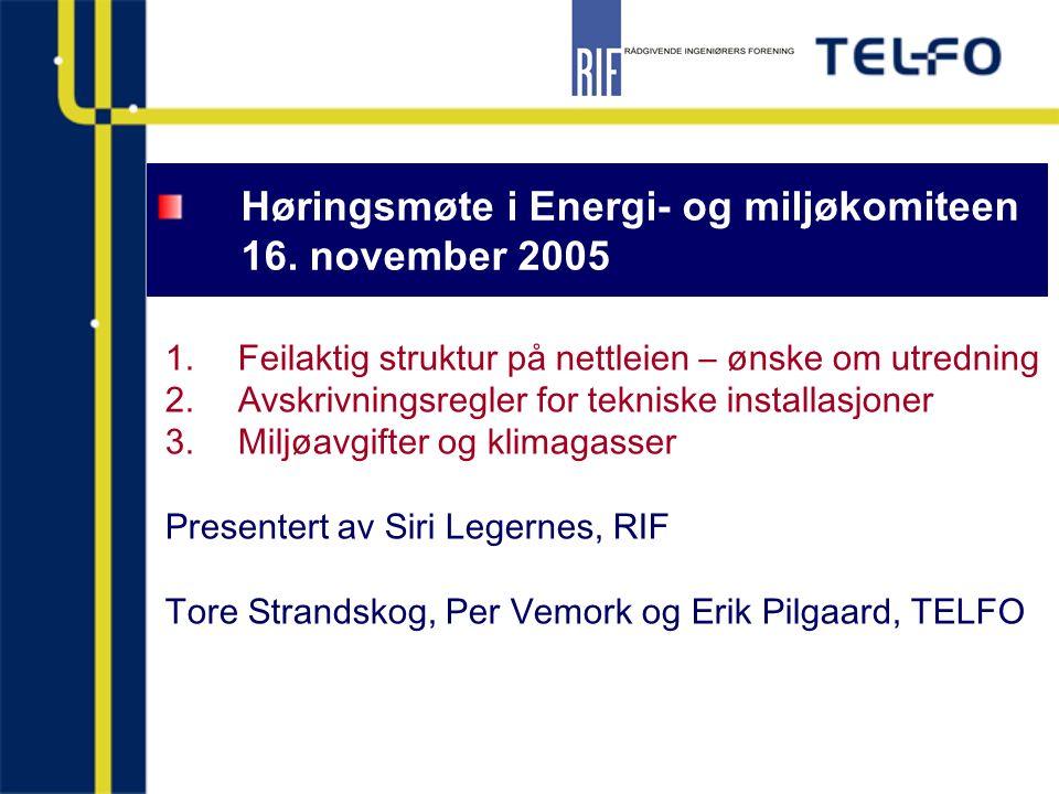 Høringsmøte i Energi- og miljøkomiteen 16. november 2005 1.Feilaktig struktur på nettleien – ønske om utredning 2.Avskrivningsregler for tekniske inst
