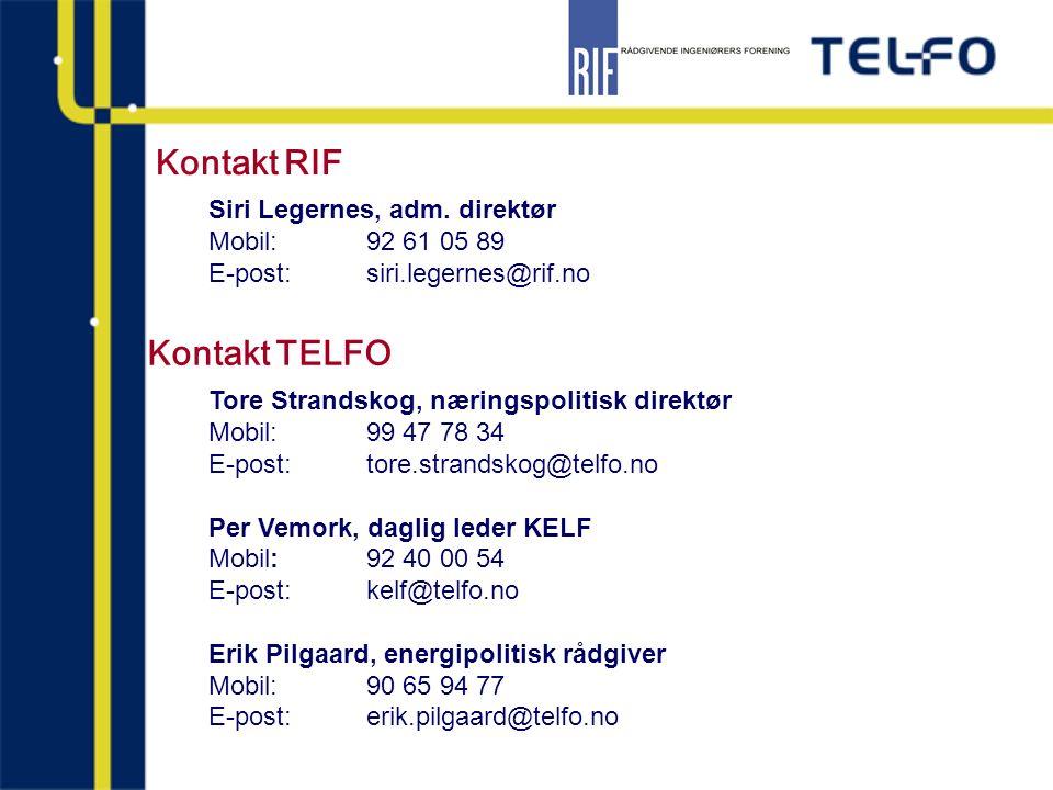 Tore Strandskog, næringspolitisk direktør Mobil: 99 47 78 34 E-post:tore.strandskog@telfo.no Per Vemork, daglig leder KELF Mobil:92 40 00 54 E-post:ke