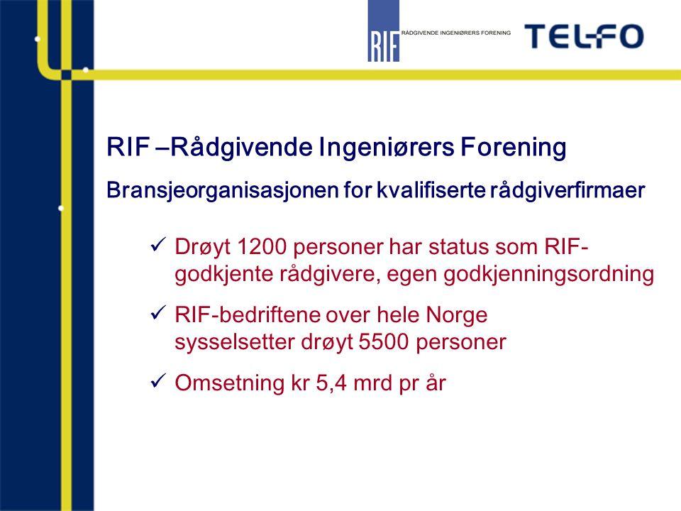 RIF –Rådgivende Ingeniørers Forening Bransjeorganisasjonen for kvalifiserte rådgiverfirmaer Drøyt 1200 personer har status som RIF- godkjente rådgiver