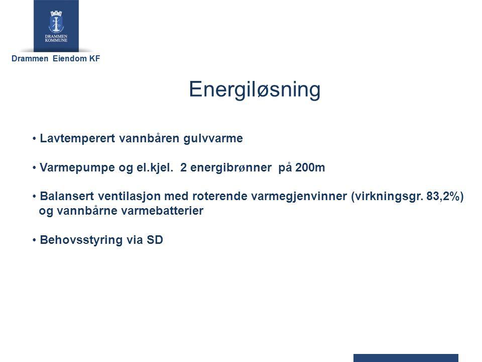 Drammen Eiendom KF Energiløsning Lavtemperert vannbåren gulvvarme Varmepumpe og el.kjel.
