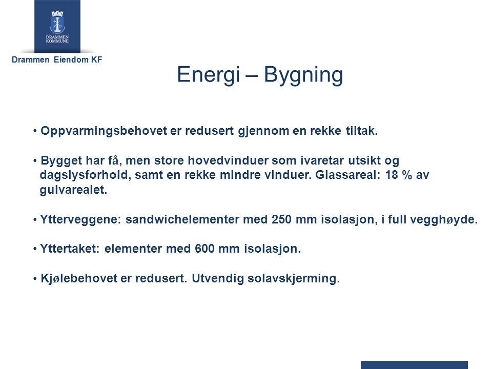 Drammen Eiendom KF ENERGIBEHOV Romoppvarming:16,6 kWh/m2/år Ventilasjonsvarme: 7,3 kWh/m2/år Varmtvann:10,0 kWh/m2/år Viftedrift:10,2 kWh/m2/år Pumpedrift: 0,7 kWh/m2/år Belysning:15,7 kWh/m2/år Teknisk utstyr: 5,2 kWh/m2/år SUM65,7 kWh/m2/år Levert 51,0 kwh/m2/år
