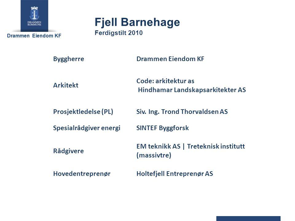 Drammen Eiendom KF ByggherreDrammen Eiendom KF Arkitekt Code: arkitektur as Hindhamar Landskapsarkitekter AS Prosjektledelse (PL)Siv.