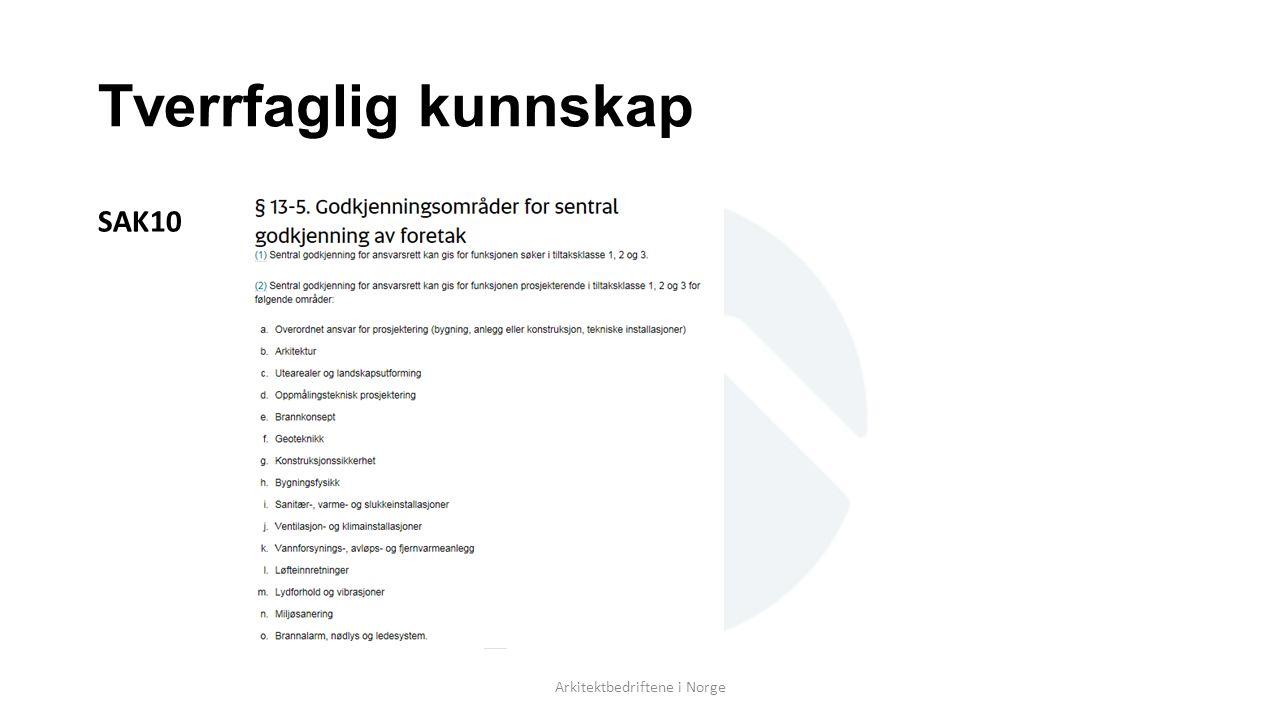 Tverrfaglig kunnskap SAK10 Arkitektbedriftene i Norge