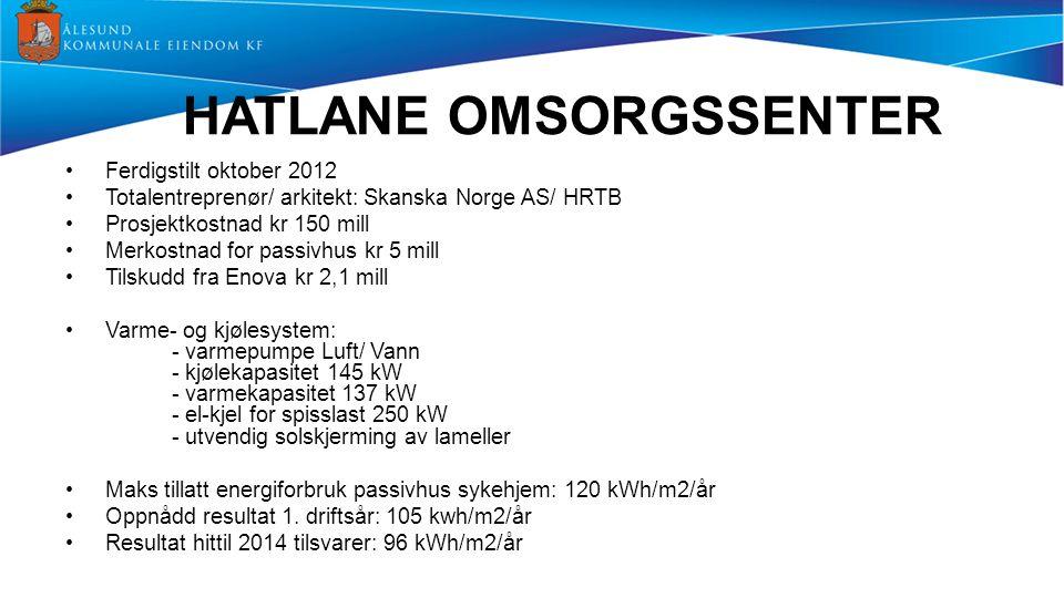 HATLANE OMSORGSSENTER Ferdigstilt oktober 2012 Totalentreprenør/ arkitekt: Skanska Norge AS/ HRTB Prosjektkostnad kr 150 mill Merkostnad for passivhus kr 5 mill Tilskudd fra Enova kr 2,1 mill Varme- og kjølesystem: - varmepumpe Luft/ Vann - kjølekapasitet 145 kW - varmekapasitet 137 kW - el-kjel for spisslast 250 kW - utvendig solskjerming av lameller Maks tillatt energiforbruk passivhus sykehjem: 120 kWh/m2/år Oppnådd resultat 1.