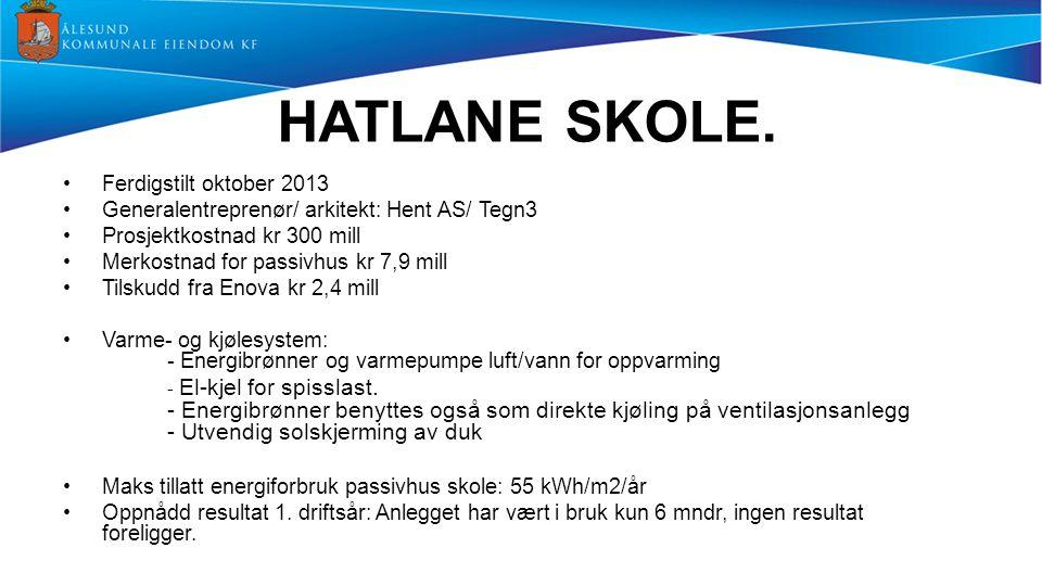 HATLANE SKOLE. Ferdigstilt oktober 2013 Generalentreprenør/ arkitekt: Hent AS/ Tegn3 Prosjektkostnad kr 300 mill Merkostnad for passivhus kr 7,9 mill