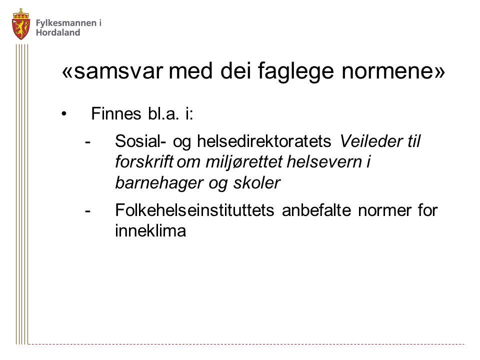 «samsvar med dei faglege normene» Finnes bl.a.