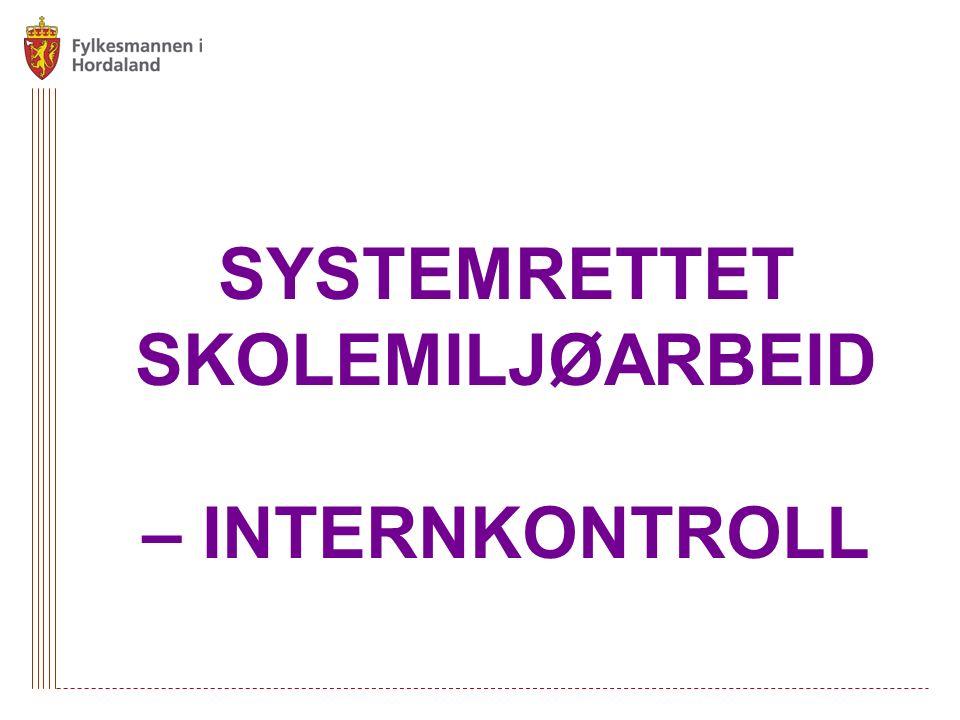 SYSTEMRETTET SKOLEMILJØARBEID – INTERNKONTROLL