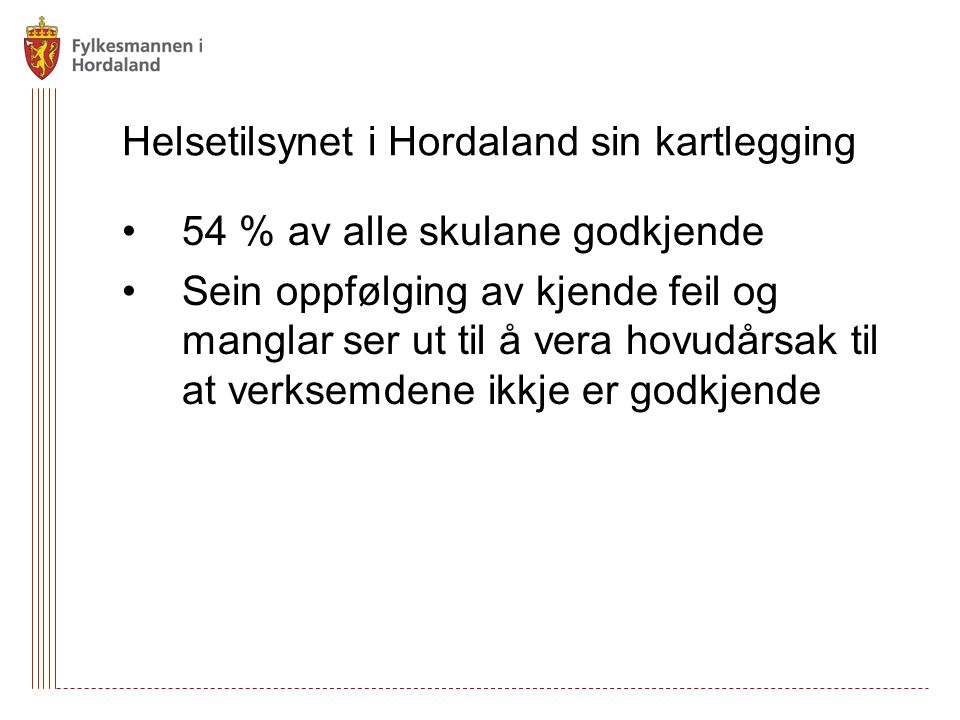 Helsetilsynet i Hordaland sin kartlegging 54 % av alle skulane godkjende Sein oppfølging av kjende feil og manglar ser ut til å vera hovudårsak til at verksemdene ikkje er godkjende