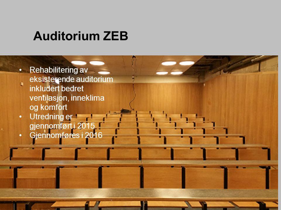Auditorium ZEB Rehabilitering av eksisterende auditorium inkludert bedret ventilasjon, inneklima og komfort Utredning er gjennomført i 2015 Gjennomføres i 2016