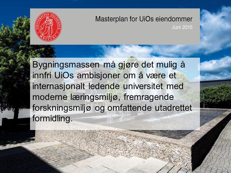 Bygningsmassen må gjøre det mulig å innfri UiOs ambisjoner om å være et internasjonalt ledende universitet med moderne læringsmiljø, fremragende forskningsmiljø og omfattende utadrettet formidling.