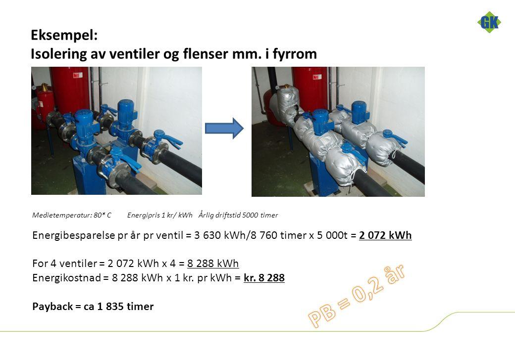 Eksempel: Isolering av ventiler og flenser mm.