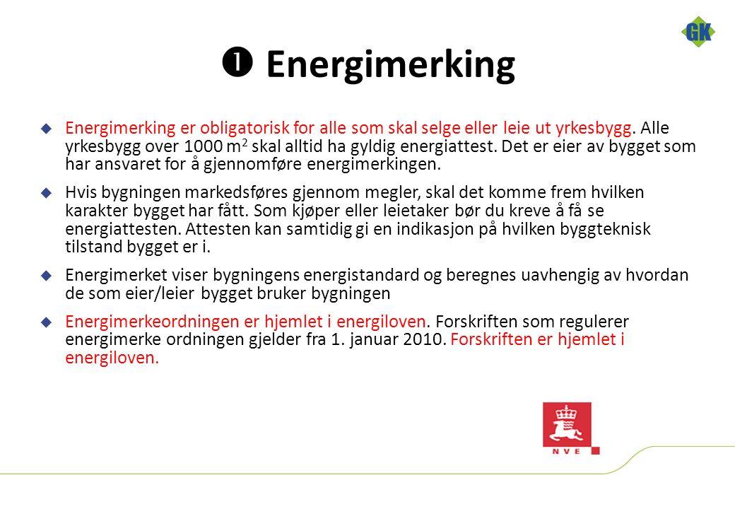  Energimerking  Energimerking er obligatorisk for alle som skal selge eller leie ut yrkesbygg.
