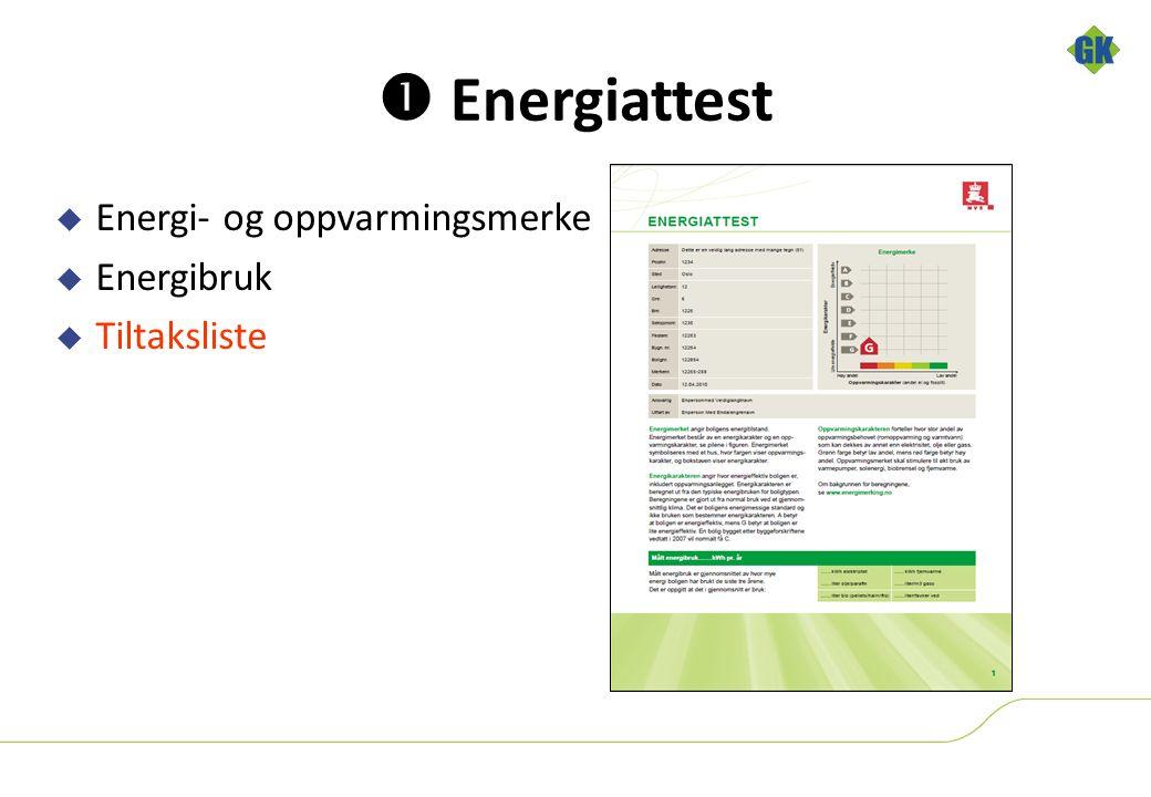  Energiattest  Energi- og oppvarmingsmerke  Energibruk  Tiltaksliste