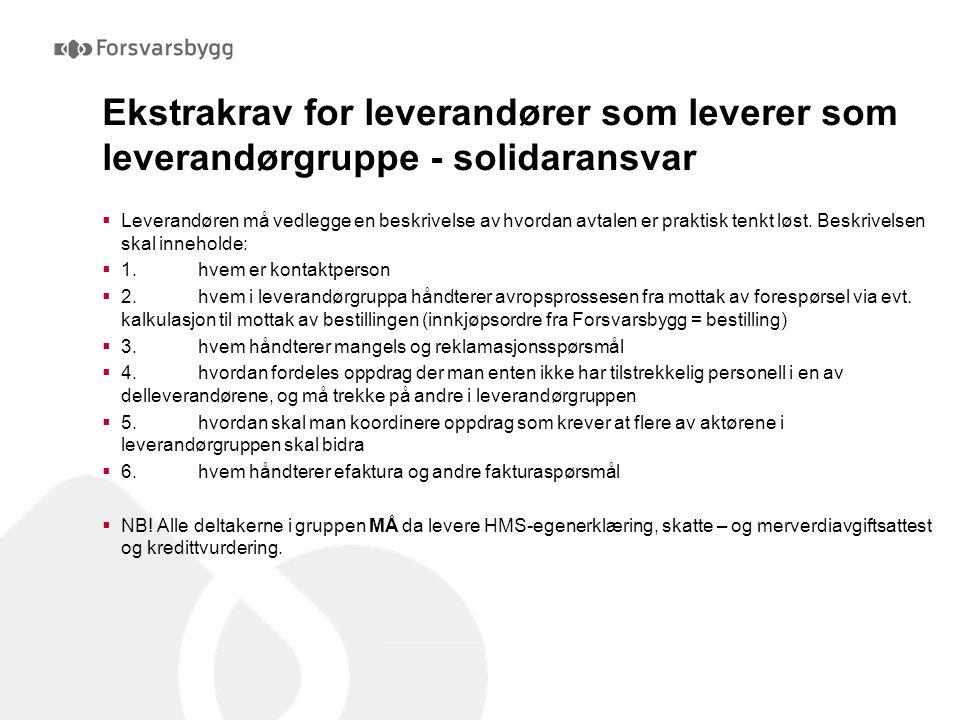 Ekstrakrav for leverandører som leverer som leverandørgruppe - solidaransvar  Leverandøren må vedlegge en beskrivelse av hvordan avtalen er praktisk tenkt løst.