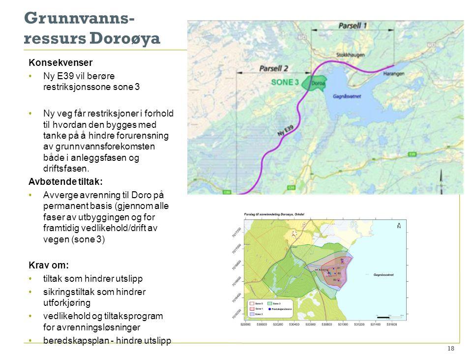 Grunnvanns- ressurs Doroøya Konsekvenser Ny E39 vil berøre restriksjonssone sone 3 Ny veg får restriksjoner i forhold til hvordan den bygges med tanke på å hindre forurensning av grunnvannsforekomsten både i anleggsfasen og driftsfasen.