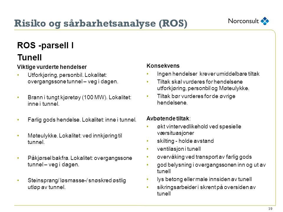 Risiko og sårbarhetsanalyse (ROS) ROS -parsell I Tunell Viktige vurderte hendelser Utforkjøring, personbil.