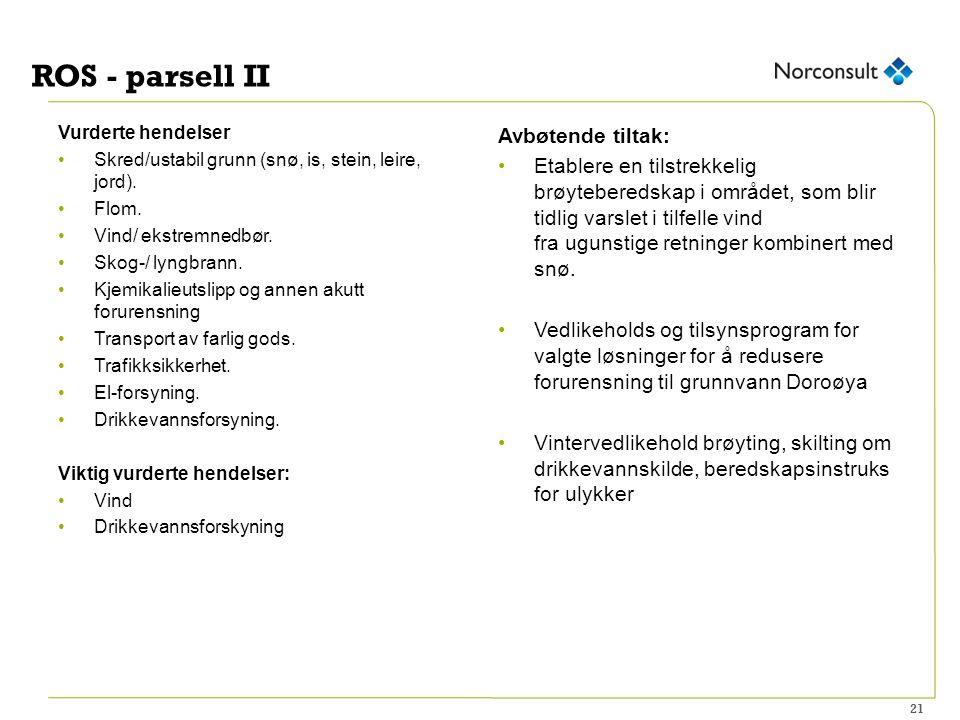 ROS - parsell II Vurderte hendelser Skred/ustabil grunn (snø, is, stein, leire, jord).
