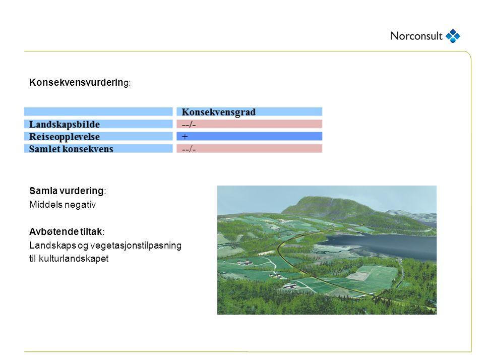 Konsekvensvurdering: Samla vurdering: Middels negativ Avbøtende tiltak: Landskaps og vegetasjonstilpasning til kulturlandskapet