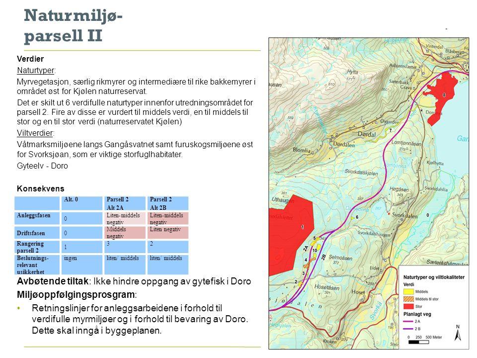 Hydrologi - parsell I Vurdert: tunell - vei i dagen Konsekvenser Tunell tunell-lekkasje grunnvannssenking senking av vannivå i private brønner, oppkommer og myr Avbøtende tiltak måling av nivå, vannkvalitet og kapasitet under anleggsperioden systemer som får innlekket vann ut av tunellen og eventuelt renses Grunnvannsuttak Doroøya forurensning av grunnvann Avbøtende tiltak: oppsamling av overvann og pumping av overvann utenfor grunnvannsrestriksjonssonen både i anleggsperioden og driftsperioden 8