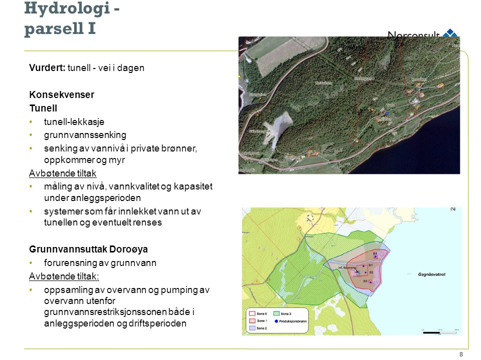 Hydrologi - parsell II Vurdert: overflatevann - myrvann hydrologi Konsekvenser: beslaglegge og avskjære myrområder i umiddelbar nærhet til vegen avskjære vannstrømninger gir lokale oppdemninger og drenering av myrvann vil ikke påvirke vannbalansen i Kjølen og Svorkmyran naturreservat Avbøtende tiltak: anleggsbeltet tilbakeføres til tilnærmet normal stand - tar tid skifte ut myrmasser i veitrase lede bort forurenset vann fra veg la myrvann få strømme fritt i steinfyllingen på tvers av vegen 9