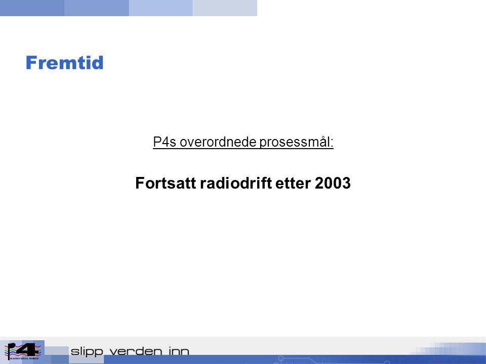 Fremtid P4s overordnede prosessmål: Fortsatt radiodrift etter 2003