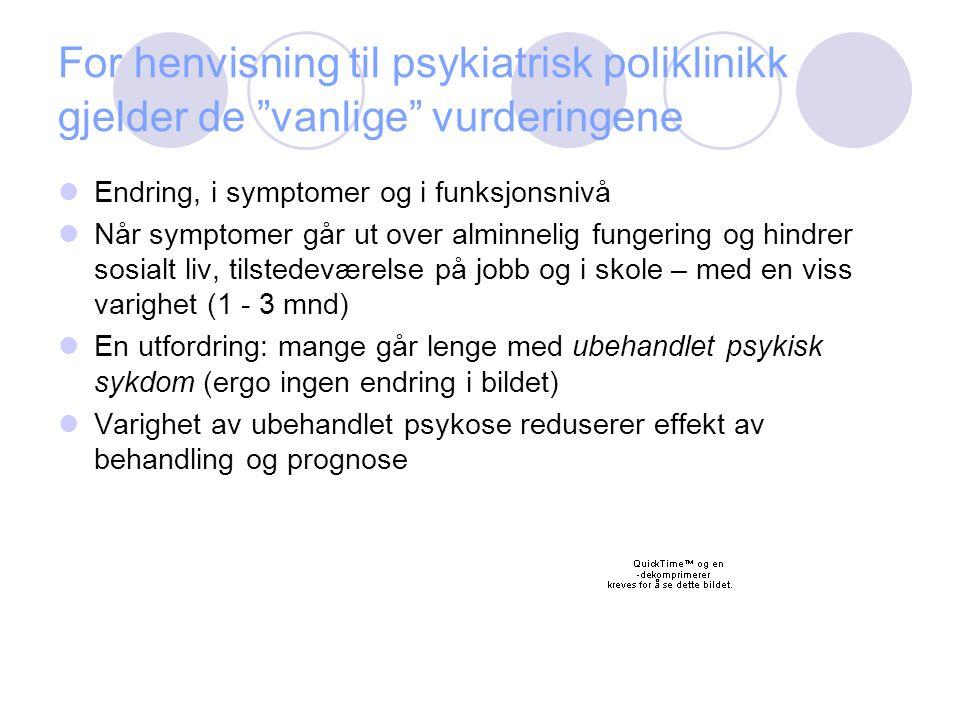 """For henvisning til psykiatrisk poliklinikk gjelder de """"vanlige"""" vurderingene Endring, i symptomer og i funksjonsnivå Når symptomer går ut over alminne"""