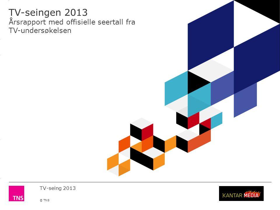 3.14 X AXIS 6.65 BASE MARGIN 5.95 TOP MARGIN 4.52 CHART TOP 11.90 LEFT MARGIN 11.90 RIGHT MARGIN TV-seing 2013 © TNS 12 Andel tidsforsinket TV-seing Målgrupper20122013 P12+ 3.4 %4.2 % M12+ 2.4 %3.1 % K12+ 4.4 %5.2 % P2-11 2.0 %3.4 % P12-19 3.3 %3.7 % P20-29 6.0 %7.4 % P30-39 4.4 %6.2 % P40-49 3.3 %4.7 % P50-59 4.3 %4.0 % P60+ 1.7 %2.5 % Husstander med PVR* 8.0 % 4,2 % Kilde: TNS Gallup TV-meterpanel.